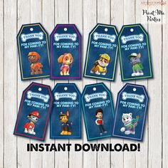 Paw Patrol Favor Tags. Paw Patrol Party Favors. by PrintMeParties