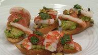 Seared Shrimp Bruschetta with Grapefruit and Avocado