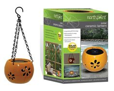 Solar Ceramic Hanging or Stand Alone Lanterns Set of 2 NIB #Northpoint