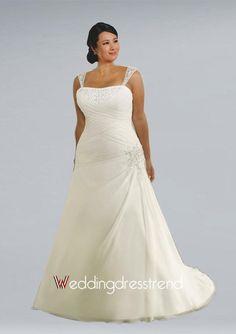 Chiffon Straps Plus Size Wedding Dress