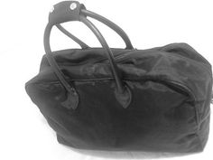 ROOTS Canada Duffel Bag Carry on Sports Bag Nylon & Leather-Black