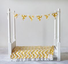 Newborn Baby Photography Prop Wooden Bed Set Mustard/White Includes bedding and banner on Etsy, $94.50