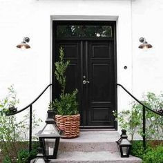 Black Double Doors, Cottage, home exterior