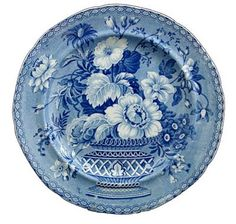Wonderful blue plate made in Stoke on Trent mid-18th century,