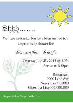 Sun And Sky Blue Surprise Baby Shower Invitation, Printable Invite. $7.00,  Via Etsy