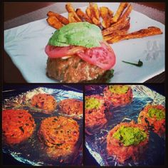 Stuffed avocado turkey burger with a side of sweet potato fries #Whole30