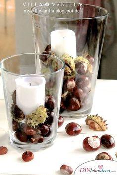 Christmas Diy, Christmas Decorations, Craft Decorations, Autumn Table, Conkers, Autumn Decorating, Autumn Crafts, Summer Crafts, Diy Candles