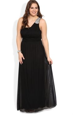 I want to go to prom just so I can wear this. Plus Size Long Prom Dress with Chunky Stone Detail and Ruched Bodice