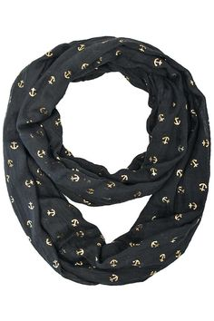 Circle Scarf With Golden Anchors