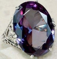 Wish |   Color Changing Alexandrite 925 Solid Sterling Silver Art Deco Ring Sz 6-10