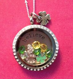 St. Patricks Day Origami Owl locket! I just put this together for a client! I can make one for you to or you can do it yourself on www.jenniferquinn.origamiowl.com! Message me