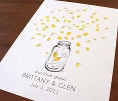 Mason jar with thumbprint fireflies, Guest book fingerprint alternative art