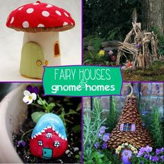 Picking up sticks in the yard and making something cute!  I might need to find a place in my garden for a Fairy Garden.  Painted rocks + stick houses.  Love it!  There�s Gnome Place Like Home: 13 Fantastic Fairy Houses
