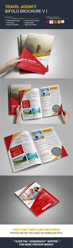 """4 pages Travel Brochure Design Template, designed using Adobe Indesign format. Free fonts used in this template. All files can easily edit, change colors or make change everything very easily. Also help """"Readme"""" file included. File Include  Indesign: INDD and IDML files Illustrator: AI and EPS fil"""