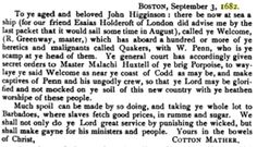 """25: """"Cotton Mather's Letter to John Higginson"""": It recommends the kidnapping of Quaker William Penn and his colonists in 1682."""