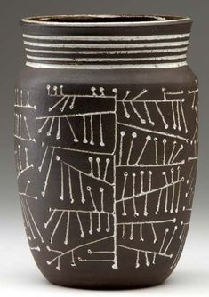 F Carlton Ball and Aaron Bohrod; Glazed Stoneware Vessel, ca 1950 click the image or link for more info. Ceramic Bowls, Ceramic Pottery, Pottery Art, Ceramic Art, Stoneware, Slab Pottery, Pottery Studio, Earthenware, Sgraffito