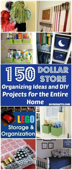 150 ways to organize your entire home using only dollar store items! so many cool ways to organize. large and small. apartment or big house. good ideas! Shown: Thumbnails from ideas!