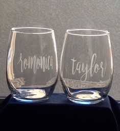 Monogram Wine Glasses, Etched Wine Glasses, Personalized Wine Glasses, Personalized Bridesmaid Gifts, Bridesmaid Wine Glasses, Wedding Wine Glasses, Etched Gifts, Bride And Groom Glasses, Custom Wedding Gifts