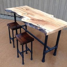 Bar table Live Edge Dining Table Design Ideas, Pictures, Remodel, and Decor Live Edge Furniture, Pipe Furniture, Rustic Furniture, Furniture Design, Furniture Ideas, Furniture Outlet, Furniture Movers, Outdoor Furniture, Diy Dining Table