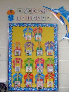 I am linking up with Swimming into Second& Show Off Your Space linky party! Here is a little tour of my ocean themed classroom. Classroom Helpers, Classroom Jobs, First Grade Classroom, Kindergarten Classroom, Classroom Organization, Classroom Decor, Ocean Themed Classroom, Future Classroom, Classroom Design