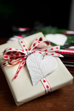 Holiday wrapping w/ clay heart