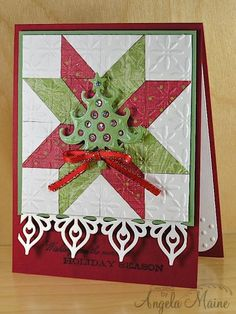 CCC13 June Quilt Card by Arizona Maine ...red white and green ... white patches with embossing folder texture ... die cut tree on top ...
