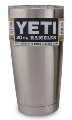 Yeti Coolers Rambler Tumbler, Silver, 20 oz. by Yeti