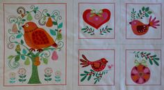 Cotton Fabric, Home Decor, Valentine, Lovebird Panel Birds and Hearts  from Michael Miller Fabric https://www.etsy.com/shop/suesfabricnsupplies