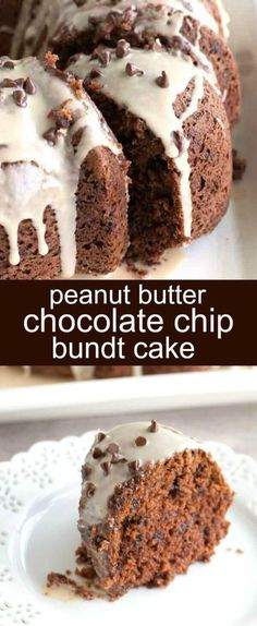 Peanut Butter Chocolate Chip Bundt Cake {An Easy Semi-Homemade Bundt Cake} bundt cake/chocolate/peanut butter Peanut Butter Chocolate Chip Bundt Cake is a perfect mix of flavor. Moist cake filled with mini chocolate chips and topped with a peanut butter glaze. via @tastesoflizzyt