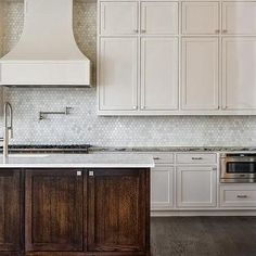carara marble beehive tile backsplash kitchen - Google Search