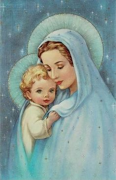 Mother Mary and Jesus. Blessed Mother Mary, Blessed Virgin Mary, Jesus Mother, Christmas Jesus, Christmas Greetings, Catholic Art, Religious Art, Roman Catholic, Animated Gifs