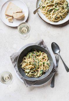 Lemony zucchini carbonara with chilli | DrizzleandDip.com