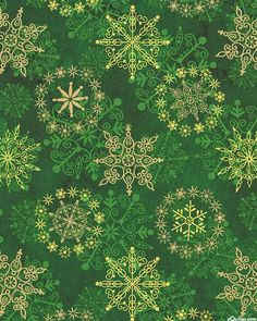 Stonehenge: Starry Night - Snowflake Magic - Green/Gold. From eQuilter.com http://arcreactions.com/