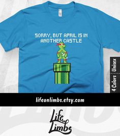 Sorry, but April is in Another Castle. Turns out Mario and Raphael got their pipes crossed in this Ninja Turtle mashup tshirt. The retro gamer in your life will get a kick out of the old school 8 bit Nintendo looking graphic tee. Graphic T-shirt | Boyfriend gift ideas | Retro Gamer | Click through for colour options! >>>