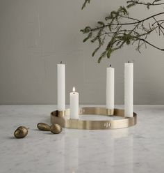 Ferm Living Gold Brass Circular Candle Holder