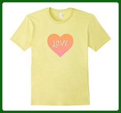 Mens I Love You Peach Heart Valentine's Day Emoticon T Shirt XL Lemon - Holiday and seasonal shirts (*Amazon Partner-Link)