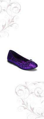 Purple Glitter Ballet Flat Shoes-5-12
