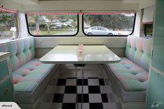 1963 Lilliput vintage caravan. I love the seats...they look like vintage wool blankets...nice idea! :)