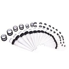 taper gauge kit. 36 pieces gauges kit crystal clear acrylic tapers + plugs *all sizes taper gauge l