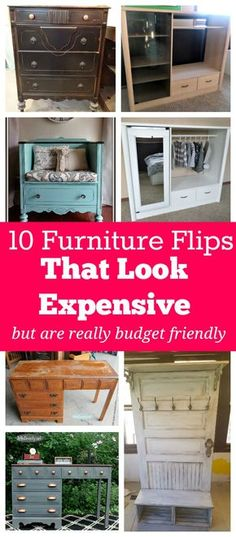 I LOVE the look of expensive furniture, but I hate spending lots of money on it! These DIY furniture flips on a budget look fantastic!! If you are looking to upcycle, repurpose, redo, or repaint some old furniture, check this out for some inspiration! (and tutorials)