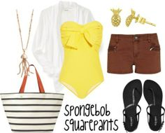Spongebob   Excited and ready for summer... Spongebob Squarepants character inspired swim outfits