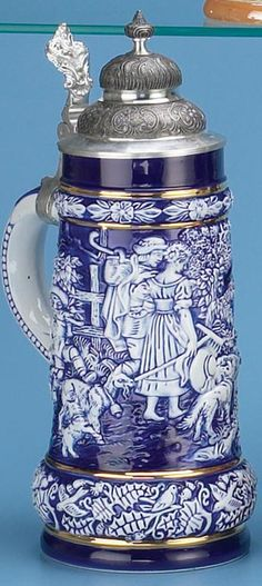 COBALT BLUE PORCELAIN STEIN - Authentic Beer Steins from Germany - 1001BeerSteins.com