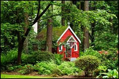 Portland OR...red church in the woods