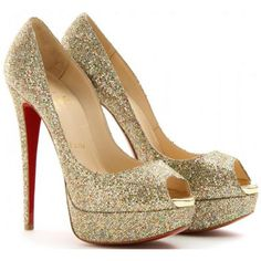 Christian Louboutin Lady Peep Glitter 150 Peep Toe Platform Pumps Multicolor