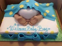 A really cute idea for a Baby Shower cake