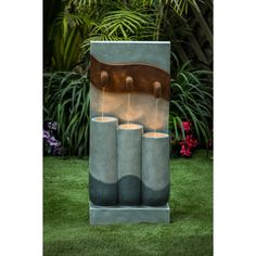 Cement Modern Pots Outdoor Patio Fountain with LED Light, Brown(Stone), Outdoor Décor Patio Fountain, Modern Fountain, Modern Outdoor Fountains, Cascade Water, Natural Stone Flooring, Outdoor Living Areas, Cement, Concrete Patio, Thing 1