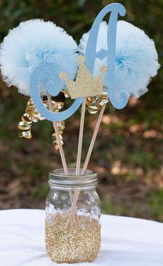 I like this Prince Child Bathe Preliminary Blue and Gold Child Boy Centerpiece Desk Ornament #babyshowerboy