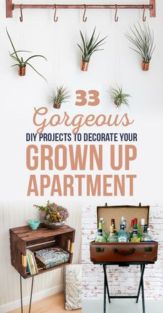 33 DIY Projects To Decorate Your Apartment   http://www.diyideasbyyou.com/33-diy-projects-to-decorate-your-apartment/