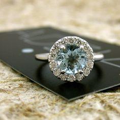 14k White Gold Aquamarine Diamond by AdziasJewelryAtelier on Etsy, $1565.00