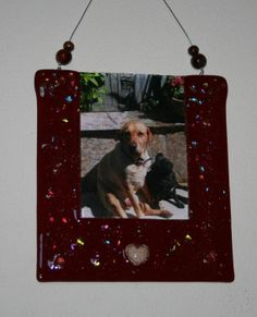 Cremation Picture Frame for your loved one or favorite pet's ashes permanently fused between the layers of glass in a heart below the picture by addicted2glassfusion.etsy.com